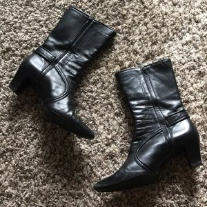 Cole Haan Black Leather Mid-Calf Heeled Boots sz 7